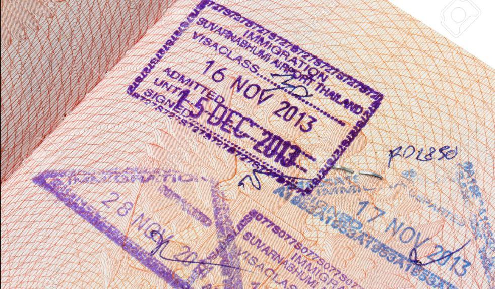 30 dniowy bezwizowa pieczęć otrzymywana na lotnisku w Tajlandii.