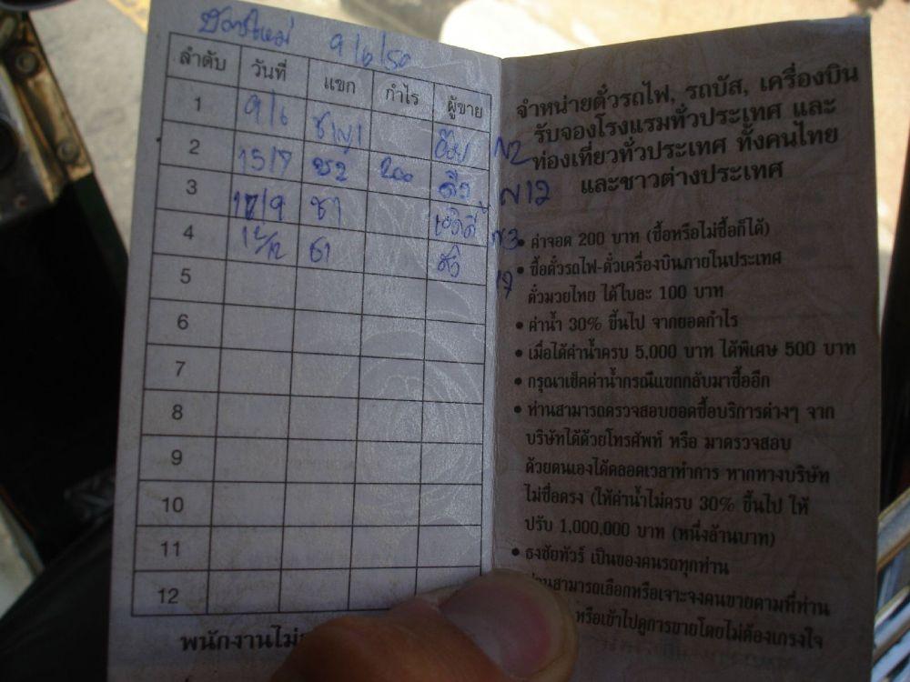 Sekret przekrętów kierowców Tuk Tuków, książeczka z komisją i bonami na paliwo.