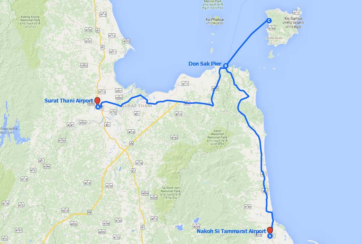 Mapa dojazdu na Koh Samui
