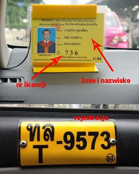 licencja kierowcy taxi Bangkok