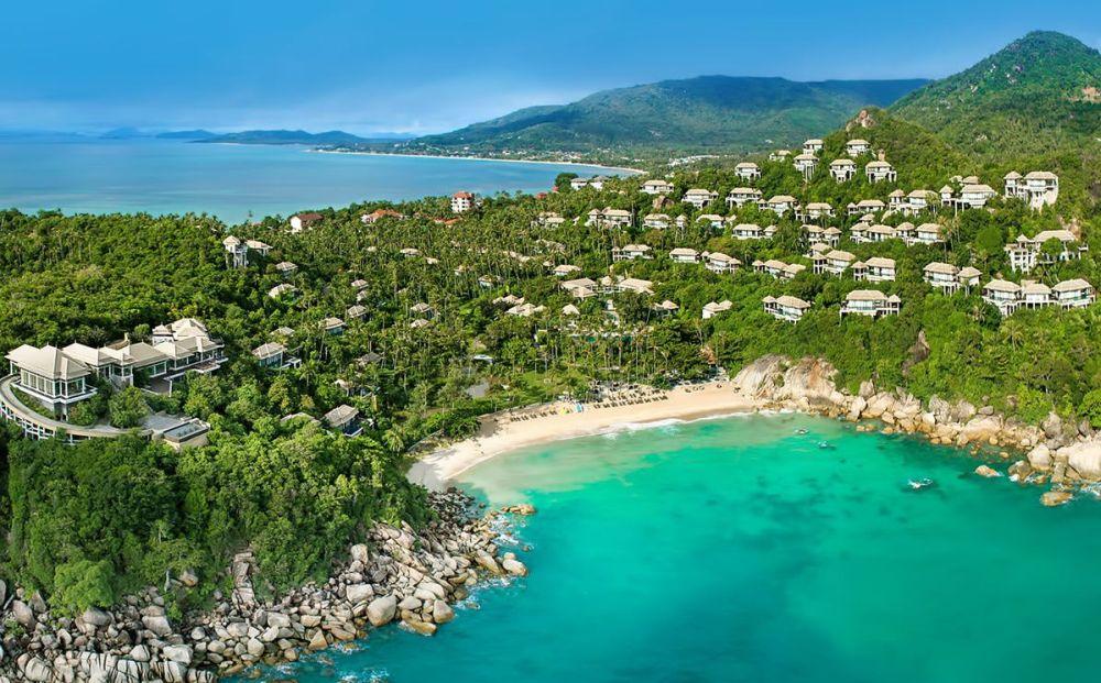 Koh Samui, widok na prywatną plaże hotelu Banyan Tree.