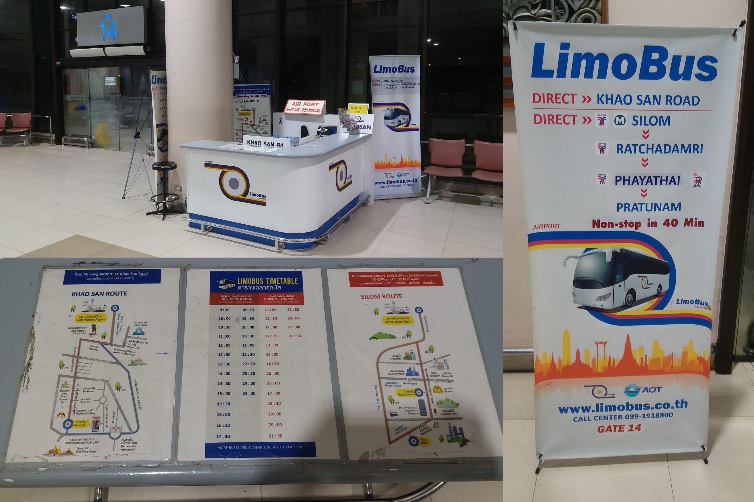 Limobus, bezpośredni autobus z lotniska Don Muang na Khao San.