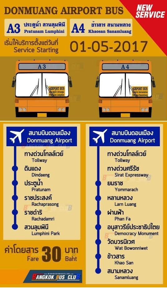 Autobus A3 i A4 z Don Mueang do centrum Bangkoku