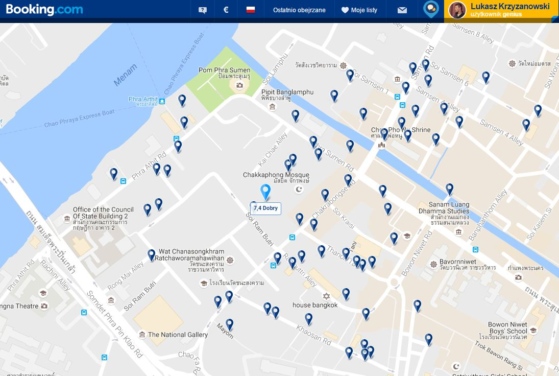 Szukanie hotelu za pomocą mapy to dobre rozwiązanie.