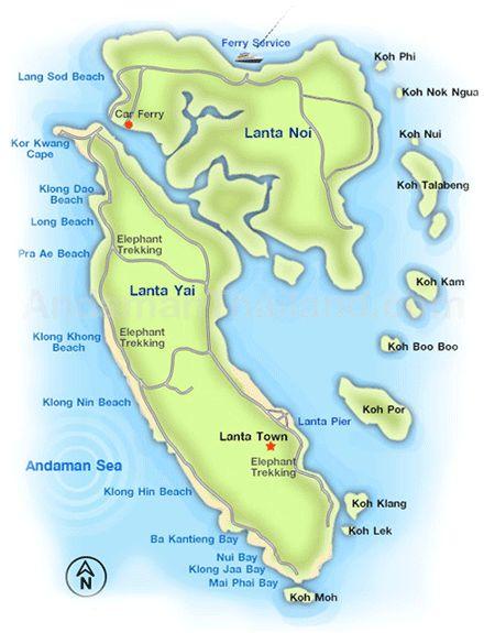 Mapa wyspy Koh Lanta.