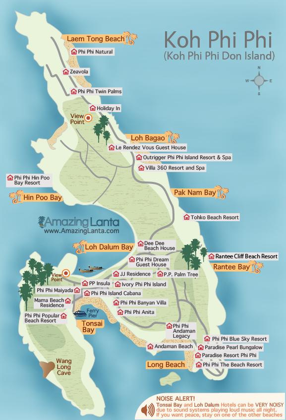 Mapa wyspy Phi Phi Don.