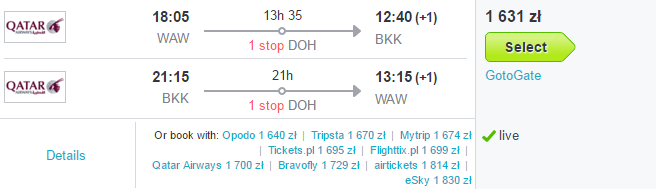 Tanie loty do Bangkoku już od 1630 PLN