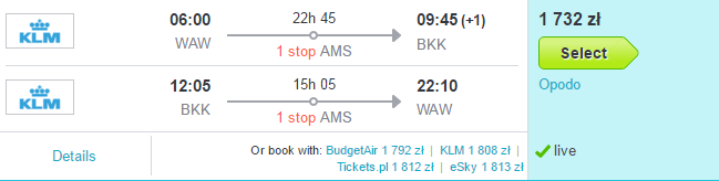 Tani lot KLM Warszawa - Bangkok za 1732 PLN