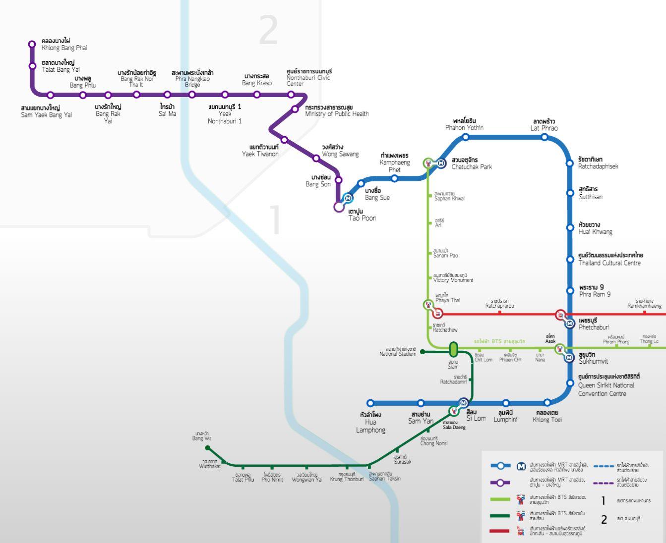 Mapa Metra MRT w Bangkoku.