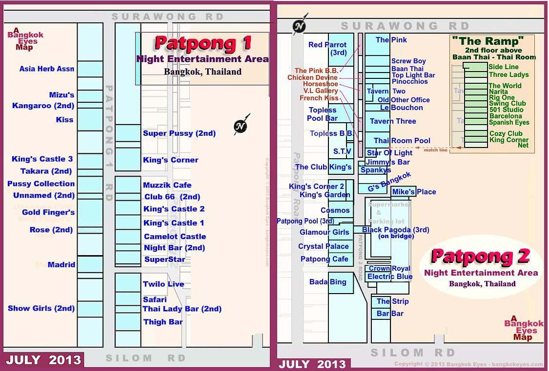 Mapa z układem barów na Patpongu