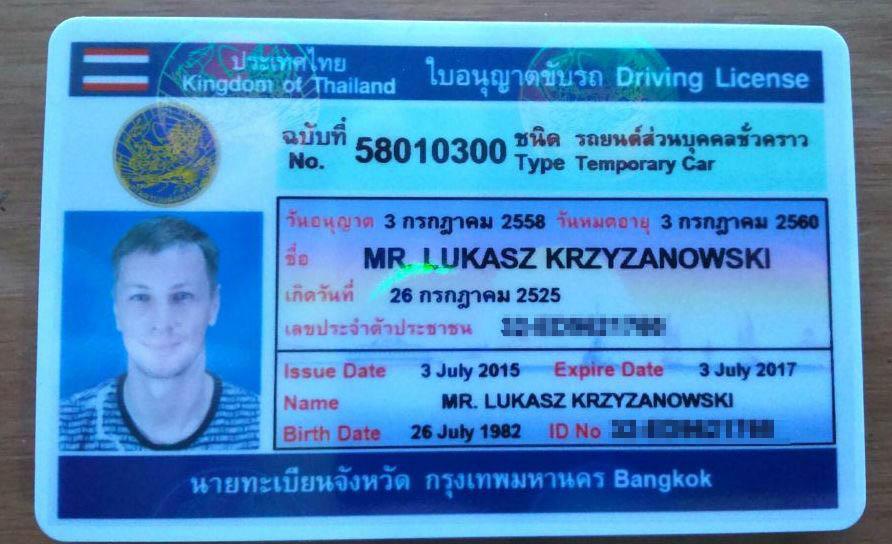 Tajskie prawo jazdy