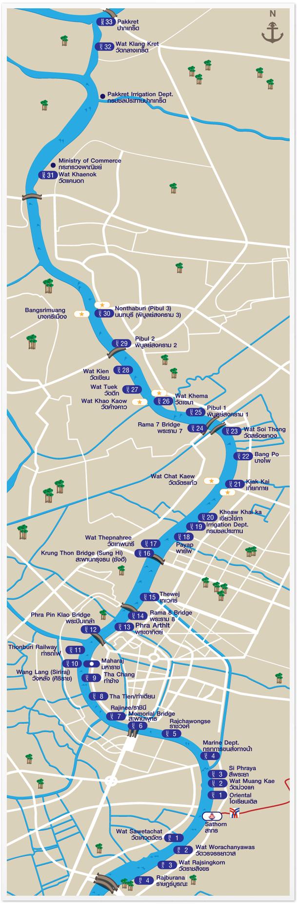 Rozkład przystanków na rzece Chao Praya w Bangkoku.
