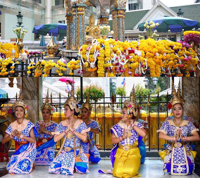 Świątynia Erawan W Bangkoku, ceremonialne tańce odbywają się codziennie