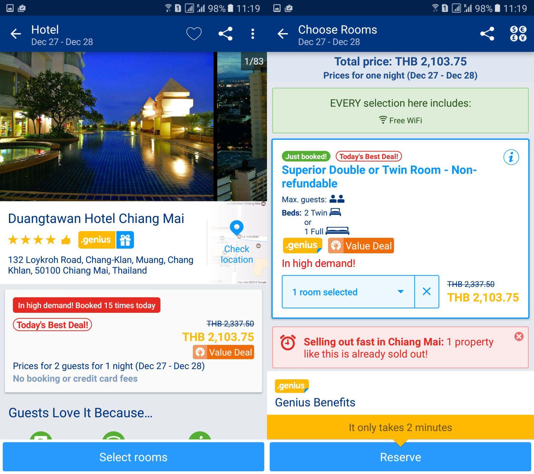 Duangtawan Chiang Mai cena z booking.com.