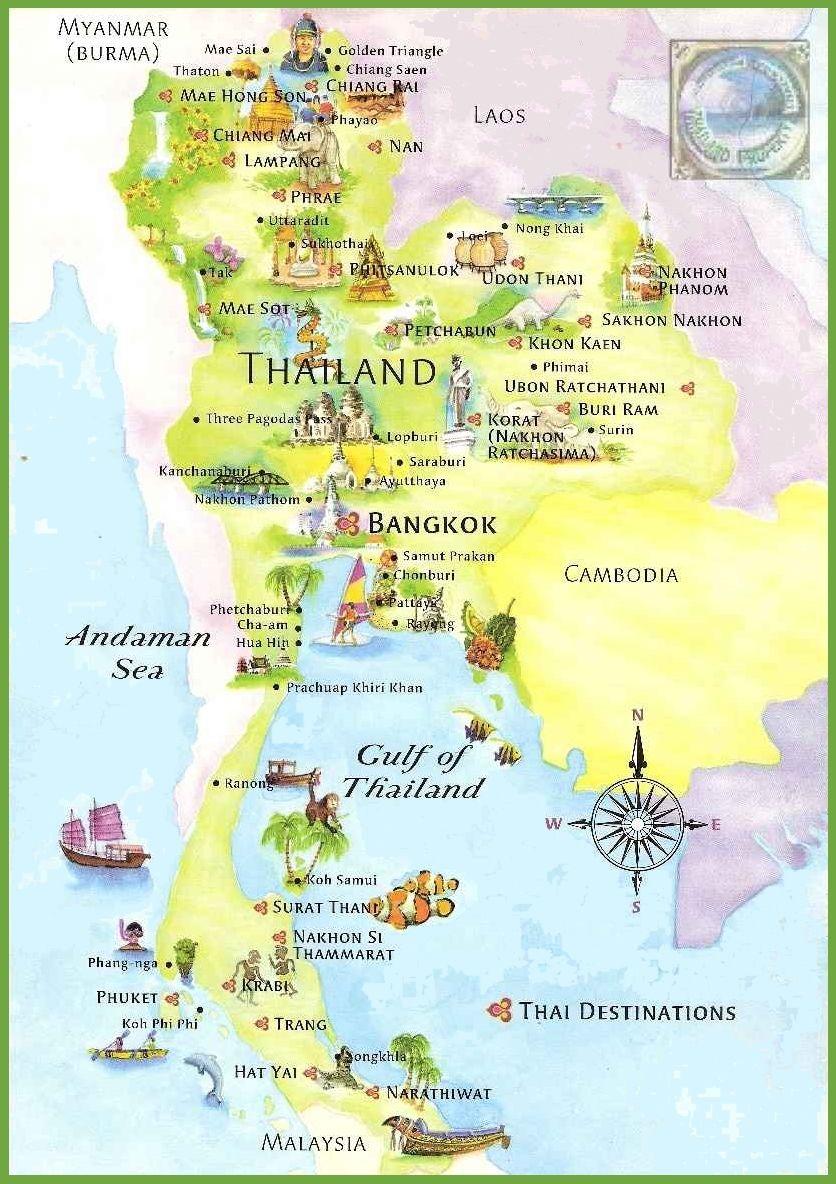Mapa Tajlandii Tajlandiafaq