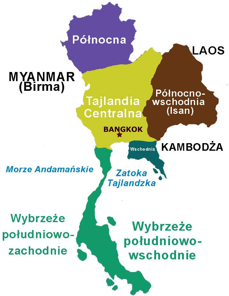 Tajlandia podział regionalny