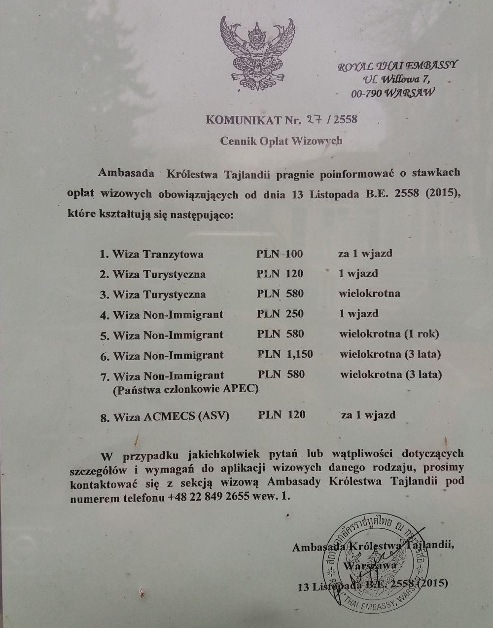 Ceny wiz do Tajlandii w Ambasadzie w Polsce