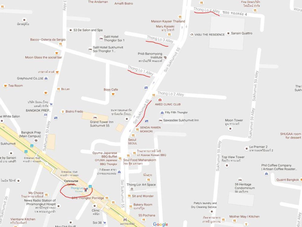 Od stacji BTS ulica Sukhumvit Soi 55 przejęła nazwę Thong Lor