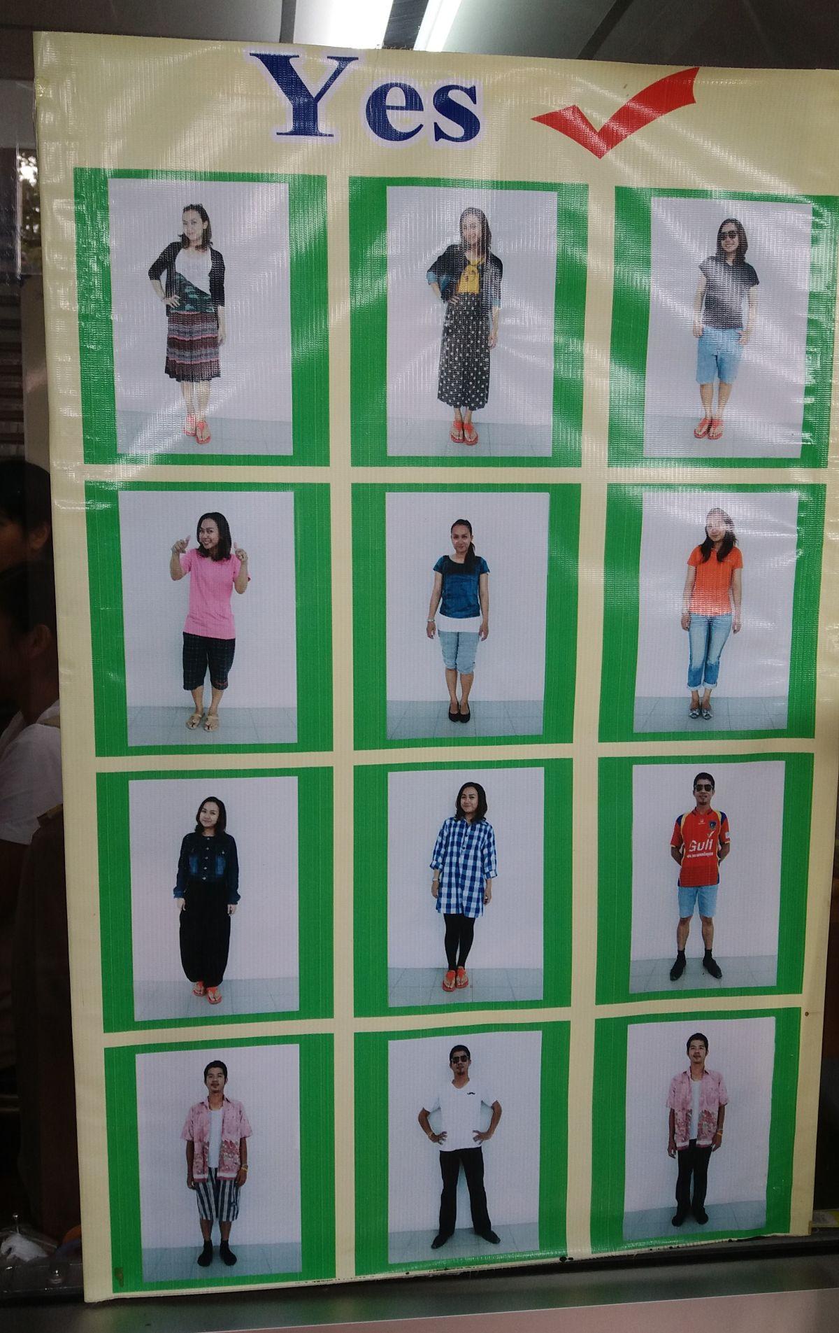 Właściwe ubranie do świątyni w Tajlandii.