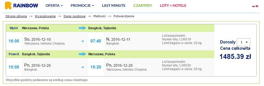 Przelot do Bangkoku za jedyna 1485 zł w dwie strony z Warszawy.