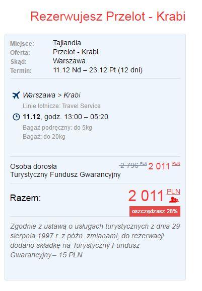 Krabi z Warszawy w grudniu za 2011 zł.
